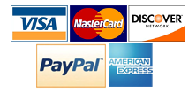 We accept Master Card, Visa, American Express, and Discover